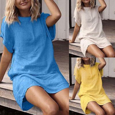 Plus Size Women Short Sleeve Mini Dress Ladies Summer Tunic Dress T-Shirt Dress