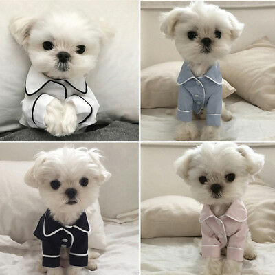 - Pet Dog Cat Satin Pajamas Pet Puppy Light Blue Fancy Silk Luxury Button Clothes