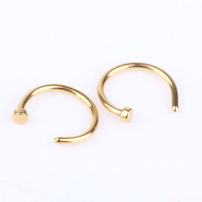 9X Nose Ring Open Hoop Lip Body Piercing clip on Studs Stainless Steel Jewelry *