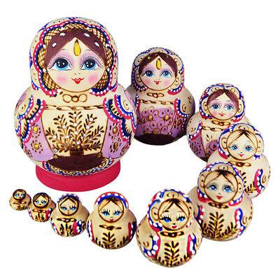 10PCS Wooden Hand Painted Russian Dolls Babushka Matryoshka Nesting Dolls Gift