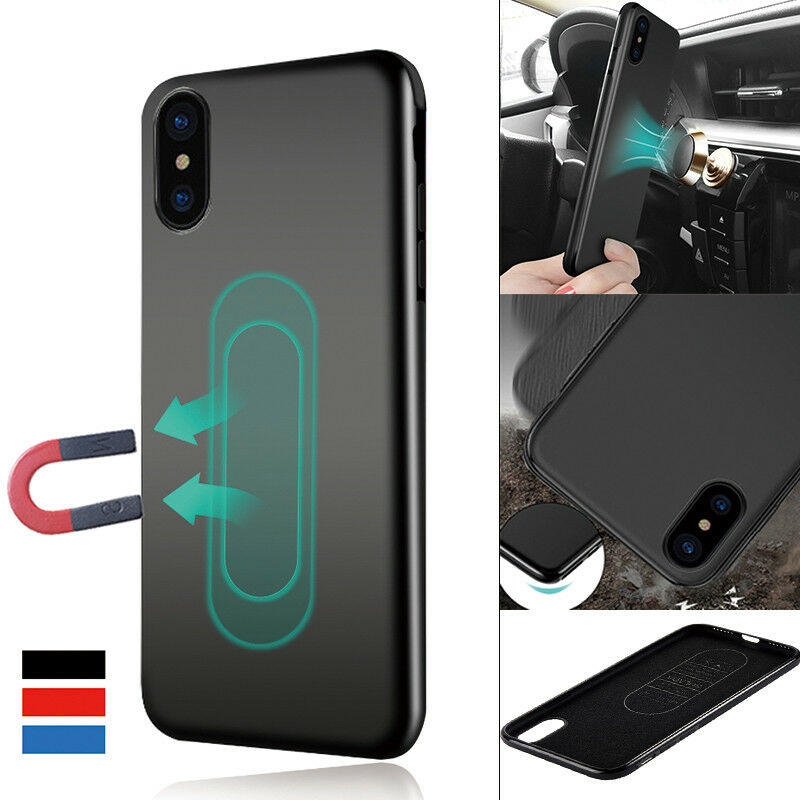For iphone XR XS Max X 8 7 6S PLUS Magnetic Car Holder Soft Rubber TPU back Case