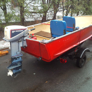 12 foot Aluminum boat with 9.9 hp motor and trailer