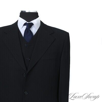 Pal Zileri Pull Made in Italy Black Techno Fabric Microstripe 3 PIECE Suit 50 NR