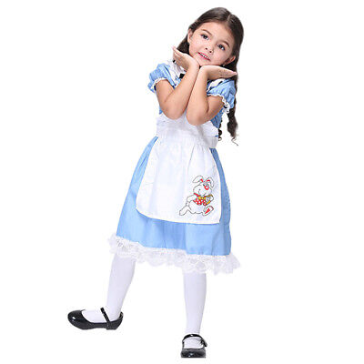 Girls Children Alice in Wonderland Costume Kids Fancy Dress Halloween Party