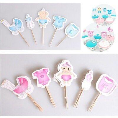 20PC Gender Reveal Cake Topper Baby Shower Boy Girl Birthday Cupcake Toppers - Baby Boy Cupcake Toppers