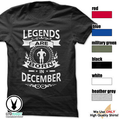 LEGENDS ARE BORN IN DECEMBER Gym Rabbit T-Shirt Workout Gym Fitness C346b