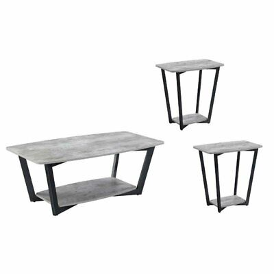 3 Piece Coffee Table Set with Coffee Table and Set of 2 End Table in Faux Birch