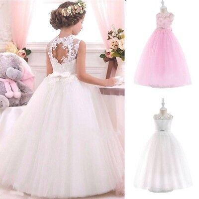 White Gown For Girl (Kids Flower Girl Bow Princess Dress for Girls Party Wedding Bridesmaid Gown)