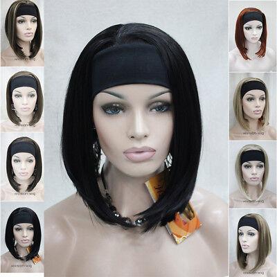 Women Short Straight Ladies Daily 3/4 Headband half wig Natural hair Cosplay Wig - Headband Wigs Short