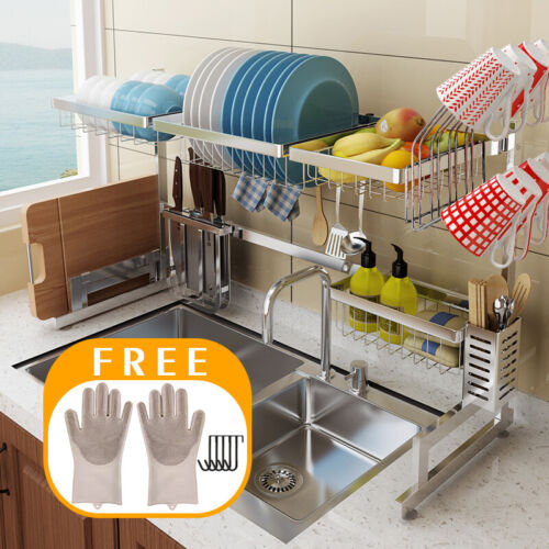 65/85CM Utensil Dish Drying Rack Over Sink Drainer w/ Cup Ho
