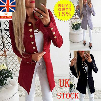 Women Button Baggy Blazer Suit Ladies Long Sleeve Slim Coat Cardaigan OL Outwear
