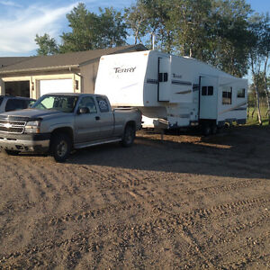 2005 chev 2500 and 2007 29.5 foot terry fifth wheel camper