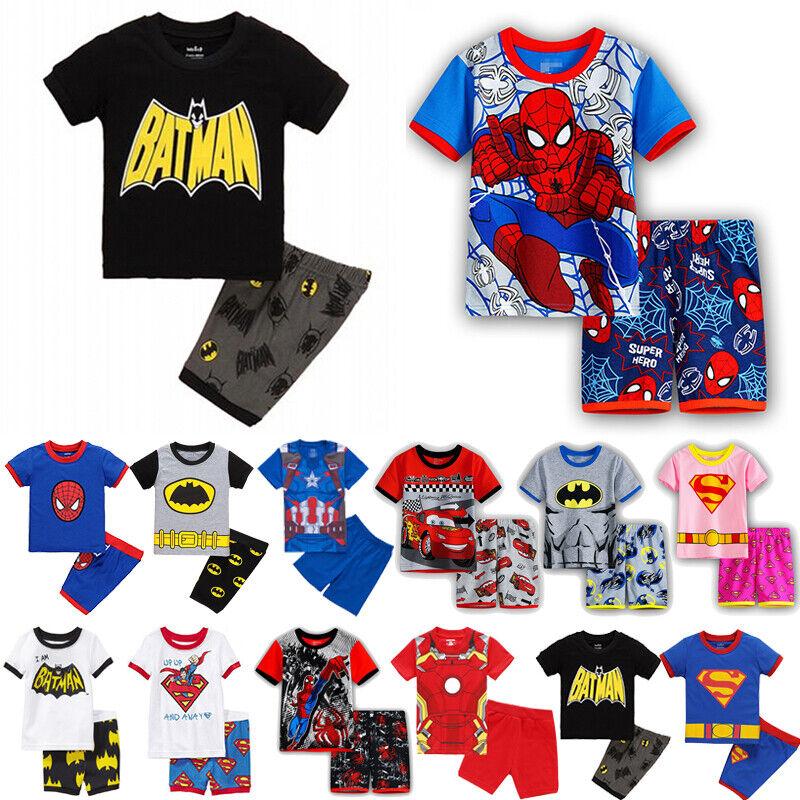 Jungen Mädchen Kinder Pyjama Nachtwäsche Schlafanzug Kurzarm Tops Hose 2tlg Set