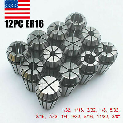 12x Precision Er16 Spring Collet Set For Cnc Milling Lathe Engraving Machine Usa
