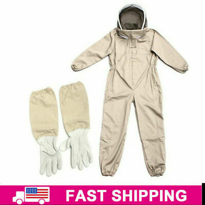 Full Body Anti-bee Suit Beekeeping Hood Coat Protective Space Suit Glove Hat Xl