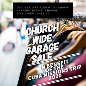 "CHURCH WIDE GARAGE SALE  in benefit of ""Mission For Cuba"""