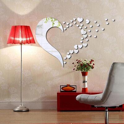 (Home Modern 3D DIY Heart Silver Mirror Wall Sticker Acrylic Art Bedroom Decor)