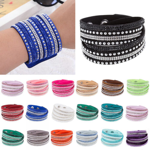 Jewellery - Multilayer Leather Wrap Wristband Cuff Crystal Rhinestone Unisex Bangle Bracelet