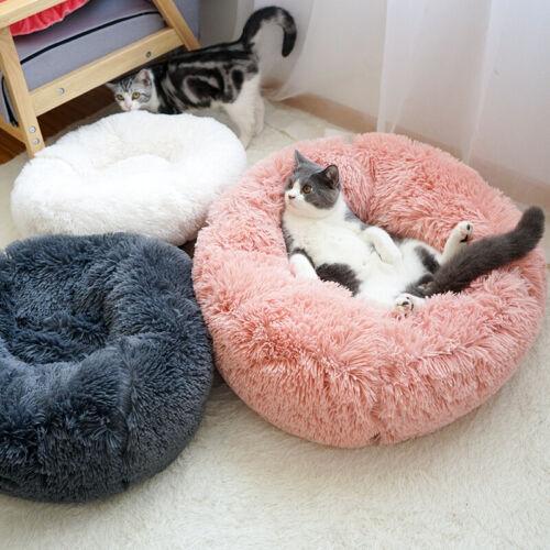 Pet Dog Cat Bed Round Nest Warm Soft Long Plush Sleeping Bag Flufy Washable Mat Beds