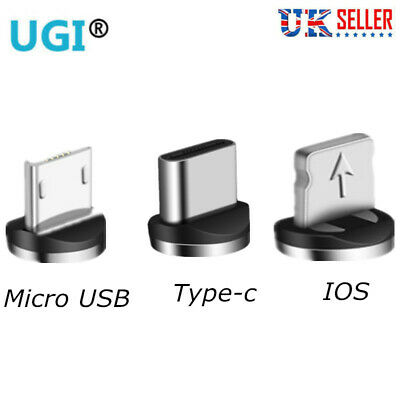 UK 360° Magnetic Adapter Charger Connector iOS Type-c Micro USB For cable