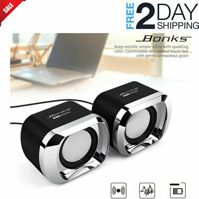 Computer PC Speakers 2.0 USB Powered Desktop Audio Laptop Tv