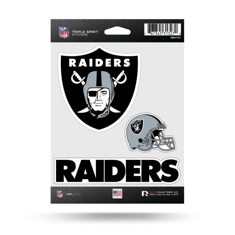 Oakland Raiders Stickers Die Cut Decals 3-piece Triple Spirit Sticker Sheet