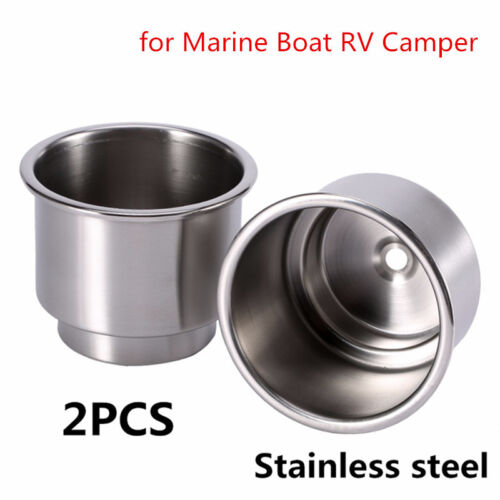 Universal 2Pcs Stainless Steel Cup Drink Bottle Holder for Marine Boat RV Camper
