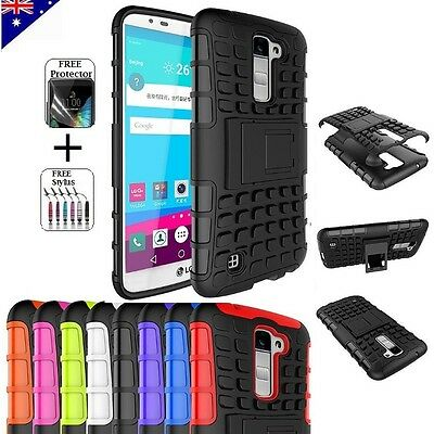 For LG K10 Heavy Duty Tough Kickstand Strong Case Cover + FREE Screen Protector Cover Free Screen