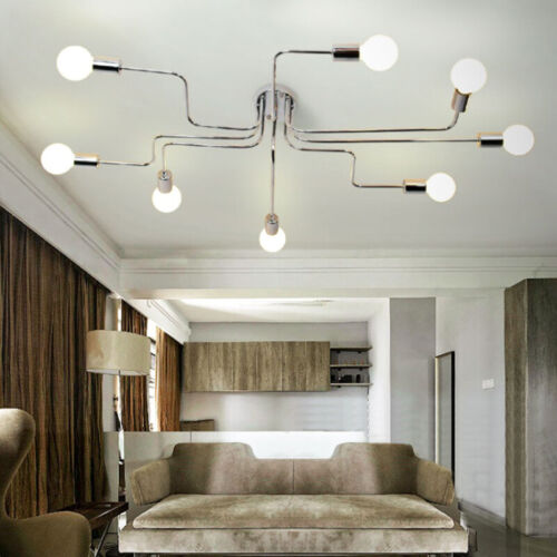 Modern Industrial Chrome Semi Flush Mount Ceiling Light 8 Li