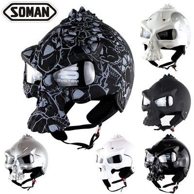 Soman Motocross Helmet Skull Mask Off-road Motorcycle Half Riding DOT Helmets
