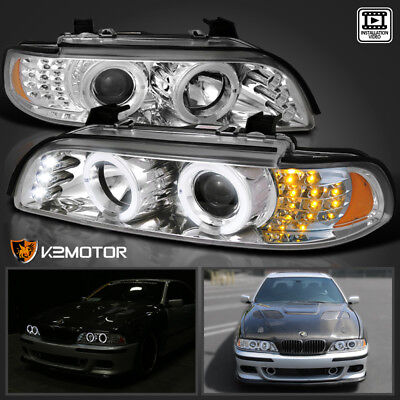 Used, 2001-2003 BMW E39 525 530 LED Corner Projector Headlights Chrome for sale  Shipping to Canada