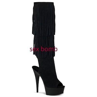 sexy Stiefel Fransen Plateau Ferse 15 von 36 bis 44 schwarzes Leder gefedert