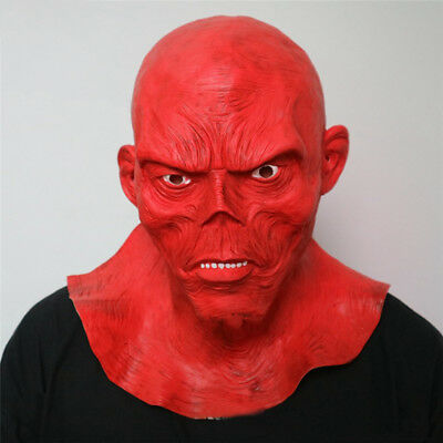 Halloween Red Skull Mask (Horror Full Head Masquerade Red Skull Mask Halloween Cosplay Zombie Mask)