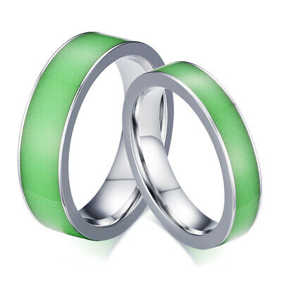 Glow in the Dark Couple Rings Stainless Steel Luminous Wedding Band Ring (Glow In The Dark Wedding Rings)