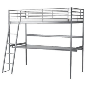 Silver Bed Frame + Desk Top + Twin-Sized Mattress IKEA