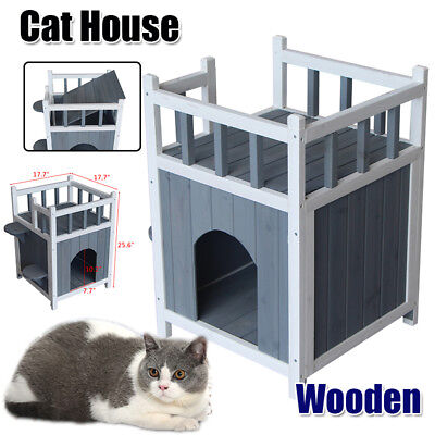 Wooden Cat Pet Home Small Dog House with Balcony  Indoor Outdoor Condo Shelter