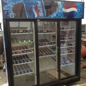 "THREE DOOR 6' X 30"" COKE AND PEPSI COOLER LIKE NEW"