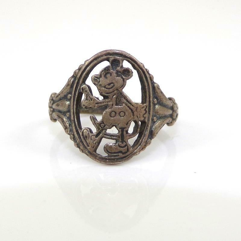 Vtg Steamboat Willie Walt Disney Sterling Silver Mickey Mouse Ring Size 2 LHE5