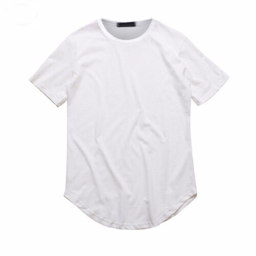 Men's Basic Extended Long T- Shirt Elongated Tee Fashion Casual Crew Neck M-2XL