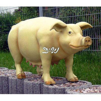 SCHWEIN lebensgroß 150 cm DEKO Garten Tier Figur BAUERNHOF GFK Dekoration