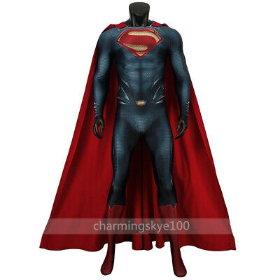 Super Man Outfit (Superman Man of Steel Cosplay Costume Men Jumpsuit Cloak Halloween Outfit)