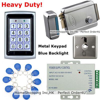 125KHz RFID Card + Password Door Access Control System+Electric Lock+Metal Exit