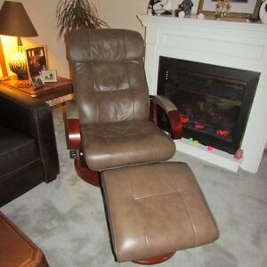 Brown Leather Reading Chair with Ottoman