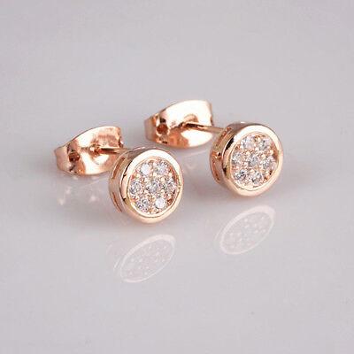 Round Button Small Earrings For Women Girls Full Paved Zircon CZ Stud Earrings