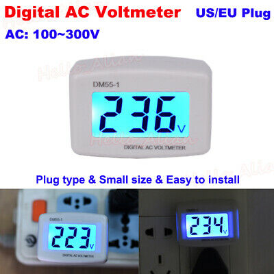 Ac 110v-300v 230v Lcd Digital Voltmeter Plug-in Home Voltage Meter Monitor