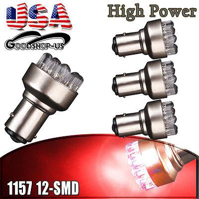 4x Red 1157 BAY15D 12 SMD LED Light Bulbs Tail Brake Stop Back Up 7528 2357 12V
