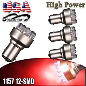 4x Red 1157 BAY15D 12-SMD LED Light Bulbs Tail Brake Stop Back Up 7528 2357 12V