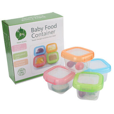 4Pcs/Set Leakproof Baby Food Storage Dishwasher Safe 4oz/120ml Snack Containers