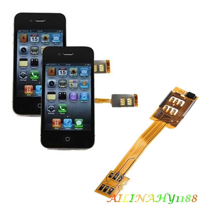 1X Dual Sim Card Adapter Single Standby Flex Cable Ribbon For iPhone 6 5S 5C AHY