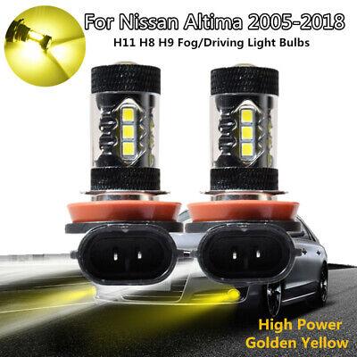 2x H11 H8 H9 3000K Golden Yellow High Power COB LED Fog Lights Driving Bulb DRL